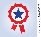 blue star red ribbon icon   Shutterstock .eps vector #764880028