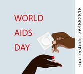 hiv   aids info. woman and man... | Shutterstock .eps vector #764882818