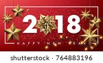 2018 merry christmas and happy... | Shutterstock .eps vector #764883196