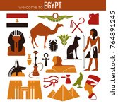set of egypt symbols and... | Shutterstock .eps vector #764891245