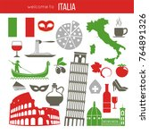 set of rome italy symbols.... | Shutterstock .eps vector #764891326