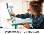 small business of a young woman. | Shutterstock . vector #764899606