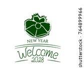 badge welcome 2018 new year...   Shutterstock .eps vector #764899966