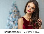 beautiful woman with fashion... | Shutterstock . vector #764917462