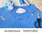 the process of hand embroidery... | Shutterstock . vector #764921002