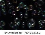 beautiful colorful soap bubbles ... | Shutterstock . vector #764932162