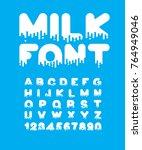 milk liquid font. dairy... | Shutterstock .eps vector #764949046