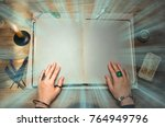 book of magic with mystical...   Shutterstock . vector #764949796