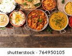assorted indian food | Shutterstock . vector #764950105