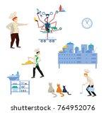 kitchen utensils with chef ... | Shutterstock .eps vector #764952076