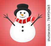 cute snowman isolated on red... | Shutterstock .eps vector #764954365