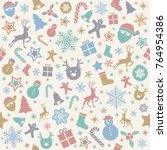 seamless christmas pattern with ... | Shutterstock .eps vector #764954386