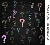 hand drawn question marks on... | Shutterstock .eps vector #764954422