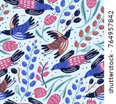 vector seamless pattern with... | Shutterstock .eps vector #764957842