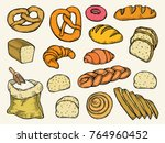hand drawn colored bread vector ... | Shutterstock .eps vector #764960452