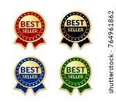 ribbons award best seller set.... | Shutterstock .eps vector #764961862