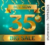realistic banner merry... | Shutterstock .eps vector #764963626
