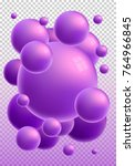 violet 3d glossy spheres with... | Shutterstock .eps vector #764966845