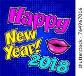 """pop art comics icon """"happy new...   Shutterstock .eps vector #764967016"""