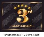3 year anniversary celebration... | Shutterstock .eps vector #764967505