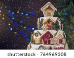 large tiered christmas cake...   Shutterstock . vector #764969308