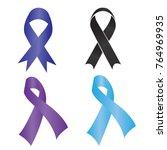 set of breast cancer awareness ... | Shutterstock .eps vector #764969935
