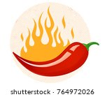 vintage vector chili peppers... | Shutterstock .eps vector #764972026