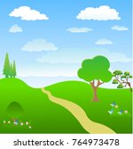 tree in the lawn. cartoon... | Shutterstock .eps vector #764973478