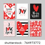 set of cute valentine's day... | Shutterstock .eps vector #764973772