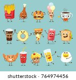 cartoon funny food characters... | Shutterstock .eps vector #764974456