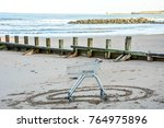 shopping cart on beach. you can ... | Shutterstock . vector #764975896