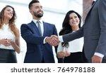 handshake business partners at... | Shutterstock . vector #764978188