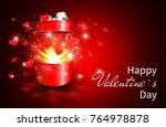 valentine background  open gift ... | Shutterstock .eps vector #764978878