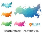 russia map   set of geometric... | Shutterstock .eps vector #764985946