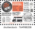 food truck menu for street... | Shutterstock .eps vector #764988208