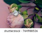 diamon engagement ring on... | Shutterstock . vector #764988526