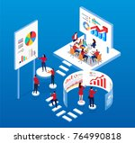 team is doing data analysis and ...   Shutterstock .eps vector #764990818