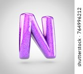 glossy violet glitering letter...   Shutterstock . vector #764996212