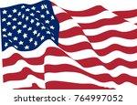 stars striped waving flag usa... | Shutterstock .eps vector #764997052