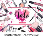 cosmetics and beauty background ... | Shutterstock .eps vector #764999362