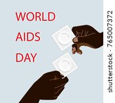 hiv   aids info. two man hands... | Shutterstock .eps vector #765007372