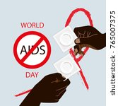 hiv   aids info. two man hands... | Shutterstock .eps vector #765007375