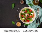 dietary salad with tomatoes ... | Shutterstock . vector #765009055