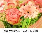 pink rose and gerbera daisy... | Shutterstock . vector #765013948