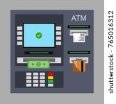 flat design of atm machine with ... | Shutterstock .eps vector #765016312
