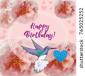 happy birthday flowers blossom... | Shutterstock .eps vector #765025252