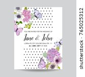 save the date card wedding... | Shutterstock .eps vector #765025312