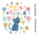 cute floral background with cat.... | Shutterstock .eps vector #765026755