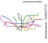 map of the barcelona metro ... | Shutterstock .eps vector #765027775