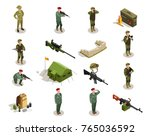 Army personnel military kit personal belongings ammunition weapon isometric icons collection with servicemen in uniform isolated vector illustration  - stock vector